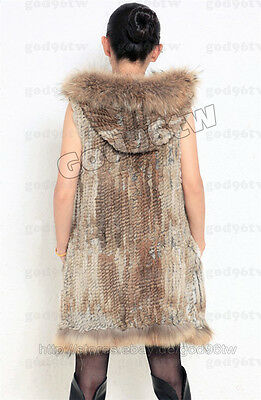 100% Real Genuine Knitted Rabbit Fur Vest Gilet Waistcoat Coat Vintage Jacket