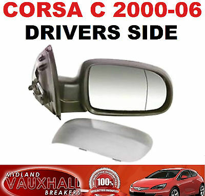 Corsa C 00-06 Drivers Side Electric Primed Wing Door Mirror Right Hand Offside