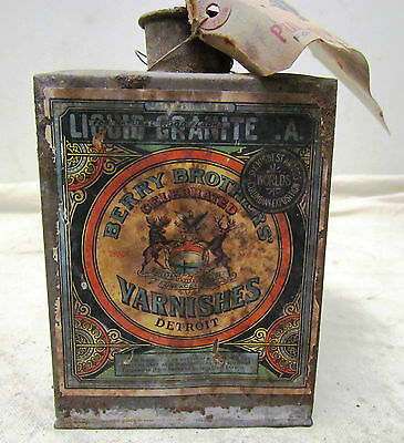 RARE SQUARE SOLDERED BERRY BROS. VARNISHES PAINT CAN ANTIQUE PAINTS  - REDUCED!!