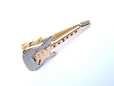 """GOLD & SILVER STYLE ELECTRIC GUITAR"" 5cm METAL TIE BAR in a GREY GIFT BOX-NEW"