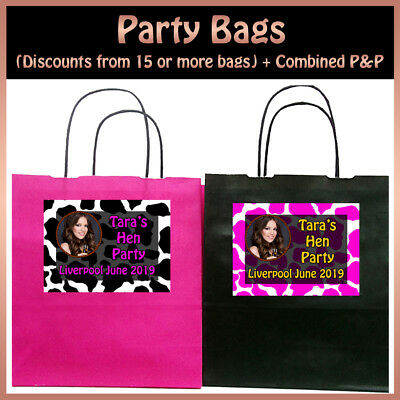 Personalised COW PRINT PARTY BAGS with YOUR PHOTO Hen Night Birthday 19x8x21cm