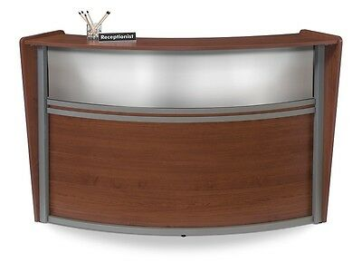 Contemporary Reception Desk in Cherry Finish with Plexi Glass and  Silver Frame