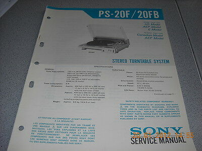 SONY PS-20F / 20FB Stereo Turntable System Plattenspieler Service Manual