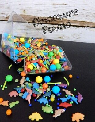 45g DINOSAUR SHAPES EDIBLE CAKE SPRINKLES CUPCAKE DECORATIONS PARTY COLOURED