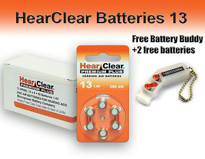 HearClear Hearing Aid Batteries Size 13 + Free Battery Buddy