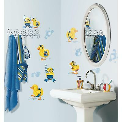 29 New BUBBLE BATH WALL DECALS Baby Ducks Stickers Kids Duck Bathroom Decor