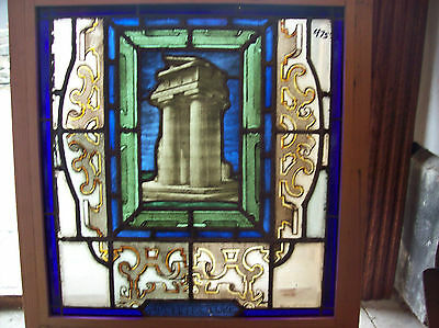 Stained glass Painted & Fired Window ARCHITECTURE (SG 1114)