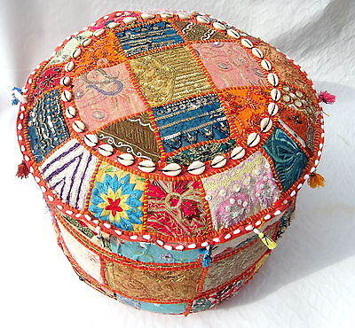 INDIAN ROUND OTTOMAN STOOL POUF PILLOW Vintage Hassock Pouffe Decor Decoration