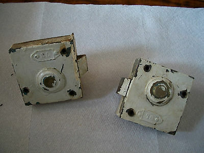 A Pair of Antique Rim Locks With Key Hole Covers.  Door Hardware
