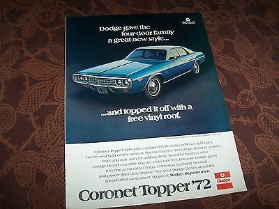 DODGE Coronet 1972 Publicité magazine USA / Original Advertising AD //