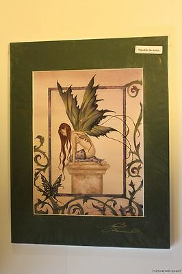 Amy Brown WAITING OUT ETERNITY Fairy Faery Print Matted 11x14 SIGNED butterfly