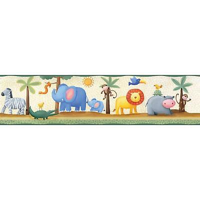 JUNGLE SAFARI ANIMALS Peel and Stick WALLPAPER BORDER Baby Nursery Wall Decor