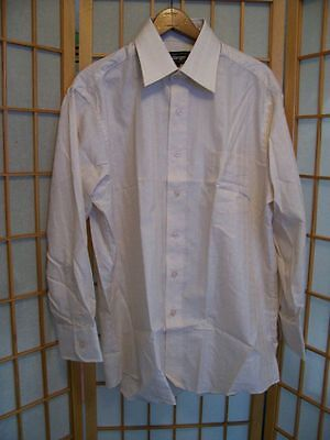 NOS NWOT Vtg KMart Challenger TEXTURED IVORY DRESS SHIRT L Single Needle Tailor