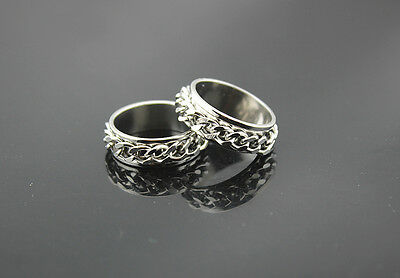 Wholesale lots 50 chain Rotatable stainless steel rings