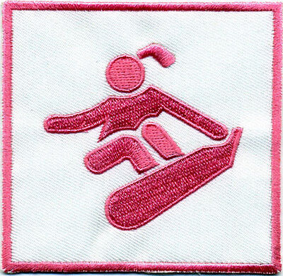 Pink SNOWBOARD - Boarder Girl, embroidered patch/badge