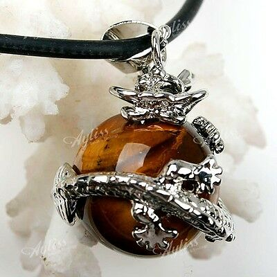 1Pc Natural tiger eye Gem stone bead dragon Round Pendant 16MM Fit necklace