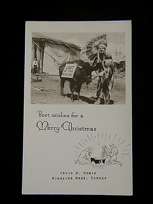 Real Photo Postcard Ringling Bros. Circus Indian Clown Christmas Card Rppc