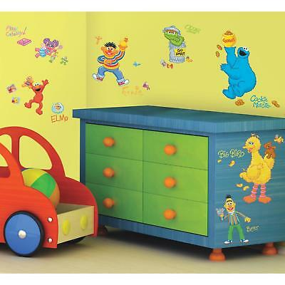 SESAME STREET WALL DECALS 45 New Elmo Big Bird Oscar Stickers Baby Nursery Decor