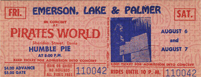 EMERSON LAKE & PALMER, HUMBLE PIE 1971 Concert Ticket
