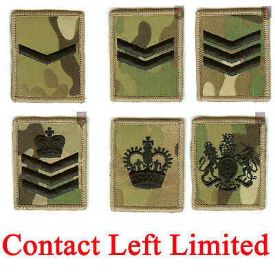 2 x Multicam / MTP Hook and Loop Rank Badges LCPL, CPL, SGT, SSGT, WO2, WO1