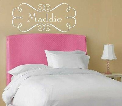 Personalized Fancy Scroll Frame w Name Vinyl Wall Decal