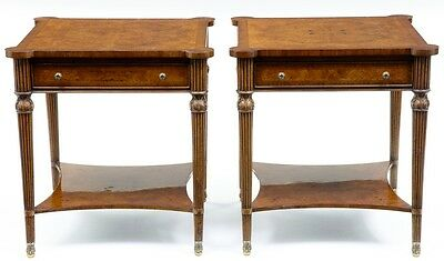 A PAIR OF CROSSBANDED WALNUT SIDE TABLES WITH BRUSHING SLIDES
