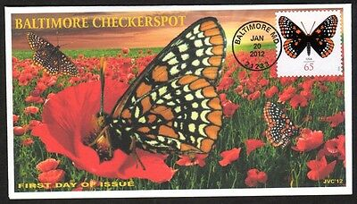 Jvc Cachets-2012 Baltimore Checkerspot Butterfly Topical First Day Cover Fdc #2