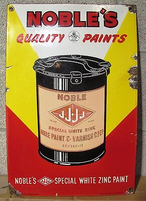 RARE NOBLE'S QUALITY PAINTS PORCELAIN SIGN ORIGINALLY FROM INDIA - REDUCED!!