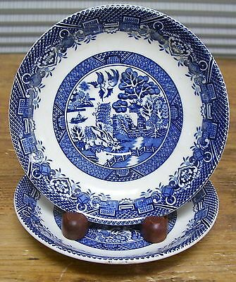 Woods Sons Enoch Willow Blue White 2 Saucers Plates England Vintage