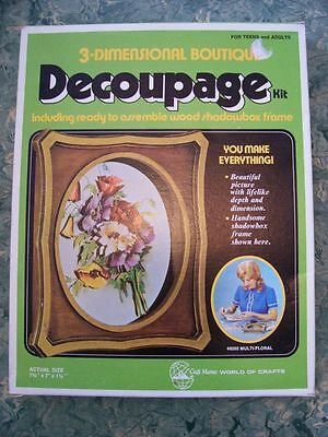 Vtg 70s 1972 Craft Master 3D BOUTIQUE DECOUPAGE KIT Flower Bouquet Shadowbox