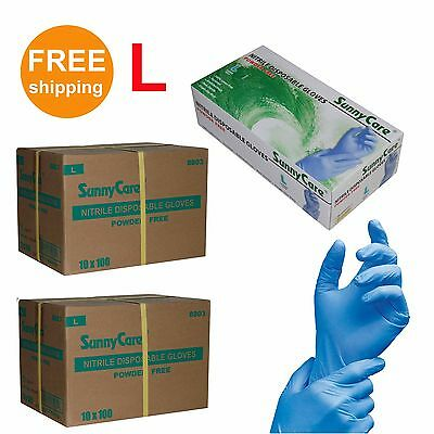 SunnyCare 2000 Nitrile Disposable Gloves Powder Free (Vinyl Free) Size: Large