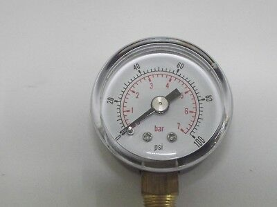 Pressure Guage1/8 bsp Bottom Entry 50mm dial 0-100psi                      b220