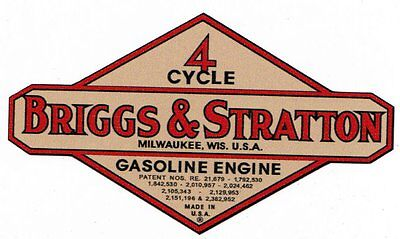 Briggs & Stratton Gas Engine Motor Decal Hit & Miss Engine 2 inch Bore WM WMB WI