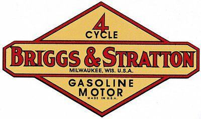 Briggs & Stratton Gas Engine Motor Decal Hit & Miss 1950's - 1970's FH FI WM WI