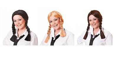 School Girl Wig Brown / Blonde / Black Pigtails Fancy Dress Adult