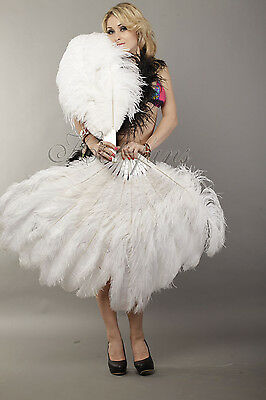 "White 2 layers Ostrich Feather Fan  30""x 54"" with gift box Burlesque dance"