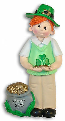 ST PATRICK'S DAY BOY Resin Personalized Christmas Ornament  by Deb & Co