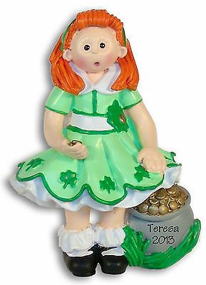 ST PATRICK'S DAY GIRL Resin Personalized Christmas Ornament  by Deb & Co