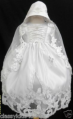 New Infant Baby Toddler Girl White Christening Baptism Dress Gown Size NB-30M