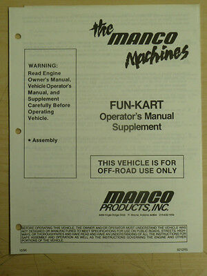 Manco The Machines Fun-Kart Assembly Supplement Operator Manual Cart