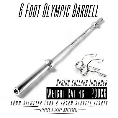 Olympic 6 Foot Barbell With Spring Collar Home Gym Weight Bench Fitness Lifting