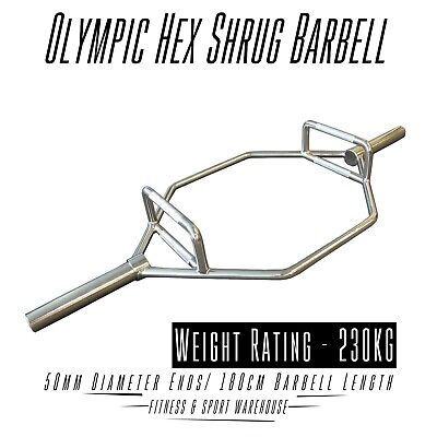 Olympic Hex Shrug Deadlift Bar / Barbell Crossfit Gym Weightlifting Bench 180cm