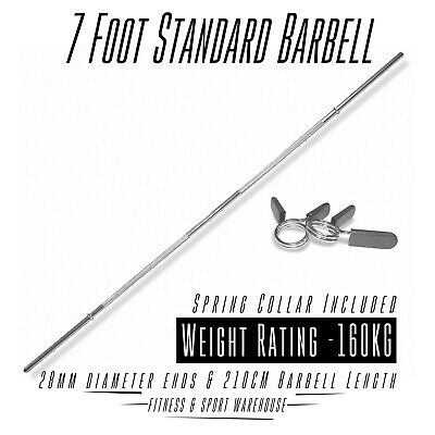 7 Foot Standard Barbell With Collar Gym Weight Bench