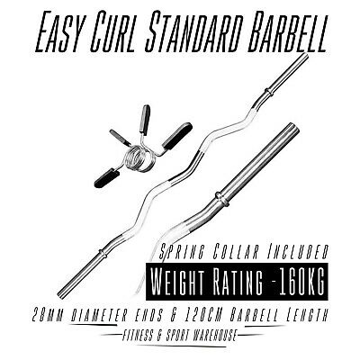 Easy Curl Standard Barbell with Spring Collar Gym Weight Bench, Deadlift, Squat