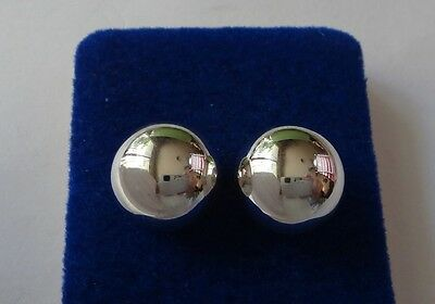 14 mm Sterling Silver Bright and Shiny Round Ball Studs Earrings