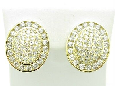 18KT GOLD SILVER DIAMOND SET WHITE SAPPHIRE UNIQUE HALO FRENCH BACK EARRINGS NEW