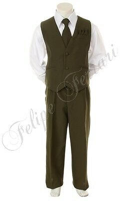 New BOY Olive Suit with Dress VEST TIE SET size (12M-24M, 2T-14) Party Formal a
