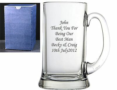 Personalised Engraved Half Pint Beer Glass Tankard - FREE Engraving NEW