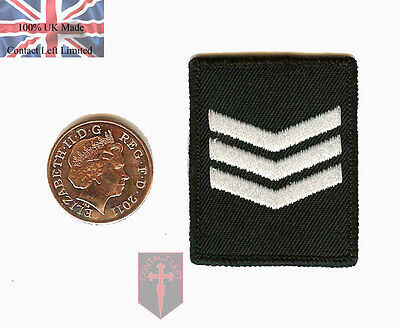 Black Sergeant SGT - Hook (Sticky) Police RANK Patch ( Security Close Protection