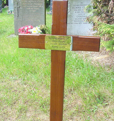 "Memorial Wooden Cross Grave Marker 48"" & Free Plaque & Free Engraving"